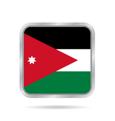 flag of jordan shiny metallic gray square button vector image