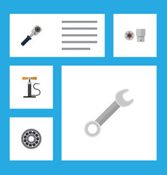 flat icon auto set of spanner ratchet wheel pump vector image vector image
