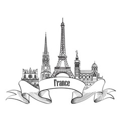 France label famous french landmark set travel vector