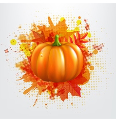 Grunge background with orange pumpkin and leaves vector