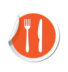 knife AND fork ORANGE LABEL vector image