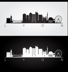 Lyon skyline and landmarks silhouette vector