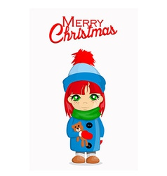 Merry Christmas card with cute girl vector image