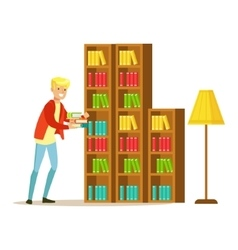 Mn collecting the books from the bookshelf vector