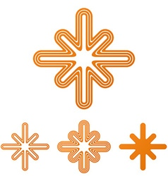 Orange line cross logo design set vector