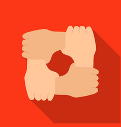 Ring of hands icon in flate style isolated on vector