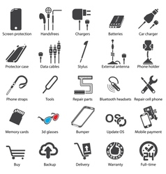 Set mobile servise web icons vector