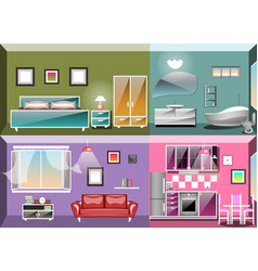 set of interior design room vector image
