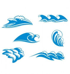 set of wave symbols vector image