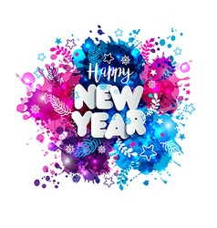 Sign happy new year in paper style on multicolor vector