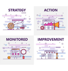 thin line flat design action plan concept vector image vector image