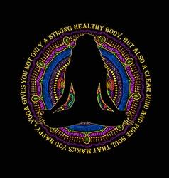 Woman Sitting In Yoga Lotus Pose And Mandala vector image