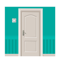 Wooden door in turquoise wall with light switch vector