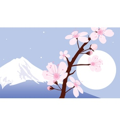 Mount Fuji moon and branches of sakura vector image