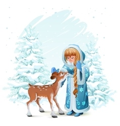 Snow maiden in blue fur coat and fawn among pine vector