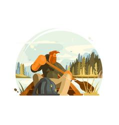 Bearded man in canoe vector