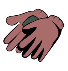 Garden gloves icon cartoon vector