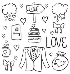 Doodle of wedding various object vector