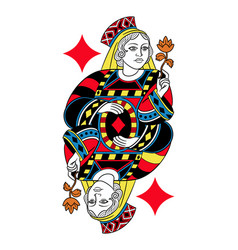 Queen of diamonds isolated french version vector