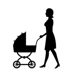 Woman with baby pram silhouette vector
