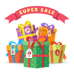 Sale present boxes big pile vector