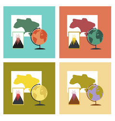 Assembly flat icons subjects of study geography vector