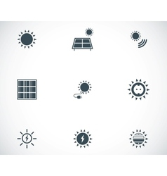 Black solar energy icons set vector