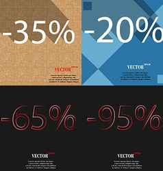 20 65 95 icon set of percent discount on abstract vector