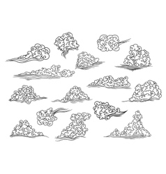 Retro scrolling black and white clouds vector