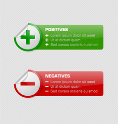 Positives and negatives stickers vector