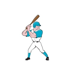 Baseball player batting stance isolated cartoon vector