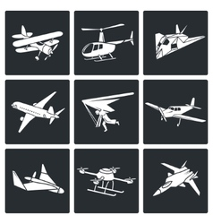 Aaircrafts icons set vector