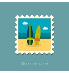 Surfboard flat stamp vector