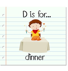 Flashcard letter d is for dinner vector