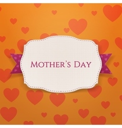 Mothers day white banner and purple festive ribbon vector