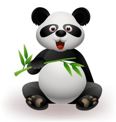 Panda eating bamboo leaf vector image