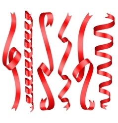 Red shining rolled vertical ribbons with vector