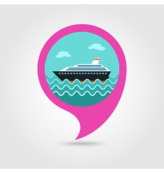 Cruise liner pin map icon summer vacation vector