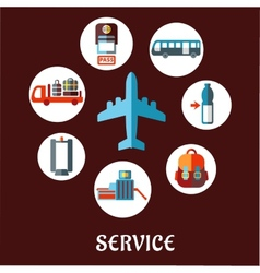 Airport flat concept with service pictograms vector image