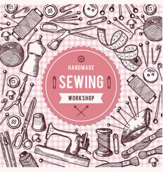Background of needlework tools vector