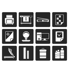 Black print industry icons vector