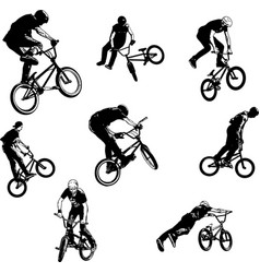 Bmx stunt cyclists sketch collection vector