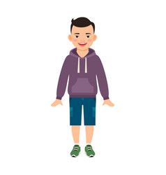 Boy in hoody isolated on white vector