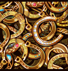 cartoon bright ornate gold horseshoes pattern vector image vector image