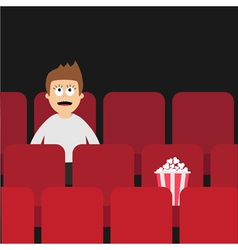 Cartoon man boy character sitting in movie theater vector