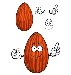 Cartoon shelled almond nut character vector image