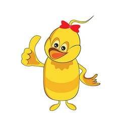 Cute baby duck cartoon thumb up vector