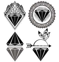 Diamond vintage hipster labels of diamonds vector