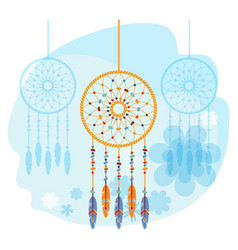 Dream catcher handmade willow hoop on which woven vector