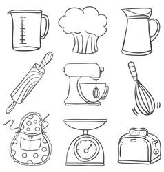 Equipment kitchen set doodles vector